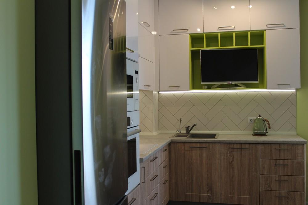 Акриловые кухни-Кухня МДФ в ПВХ «Модель 77»-фото2