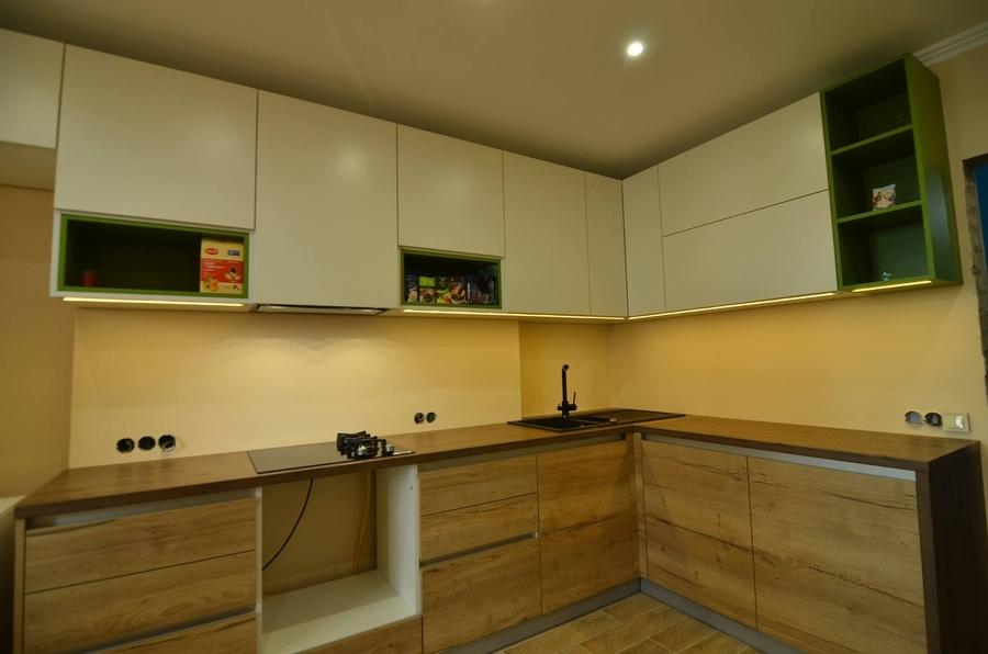 Белый кухонный гарнитур-Кухня из пластика «Модель 369»-фото3
