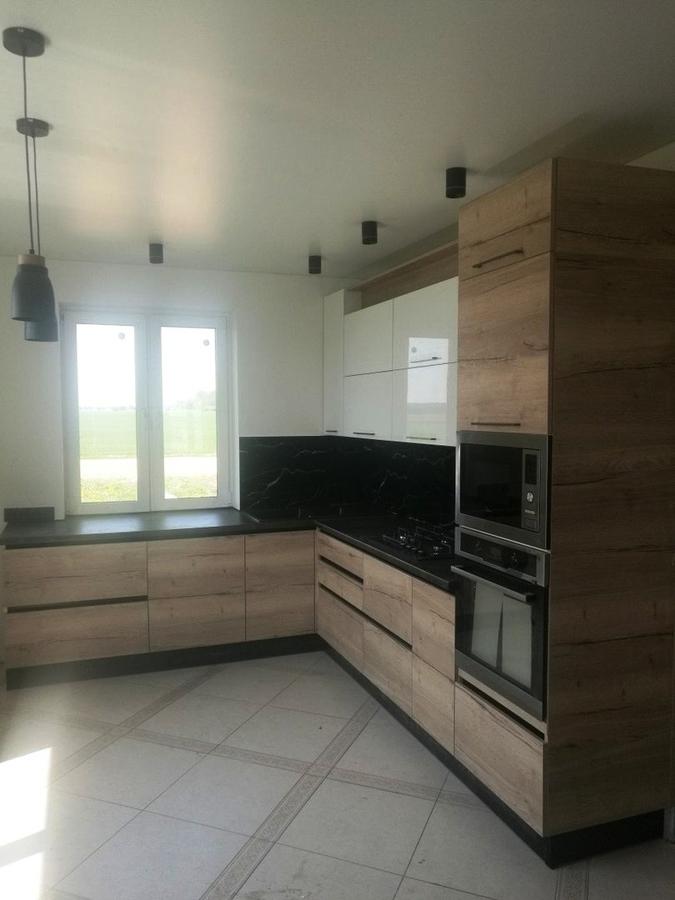 Белый кухонный гарнитур-Кухня из акрила «Модель 386»-фото1