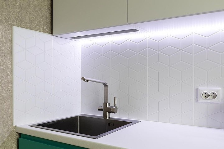 Белый кухонный гарнитур-Кухня МДФ в эмали «Модель 584»-фото6
