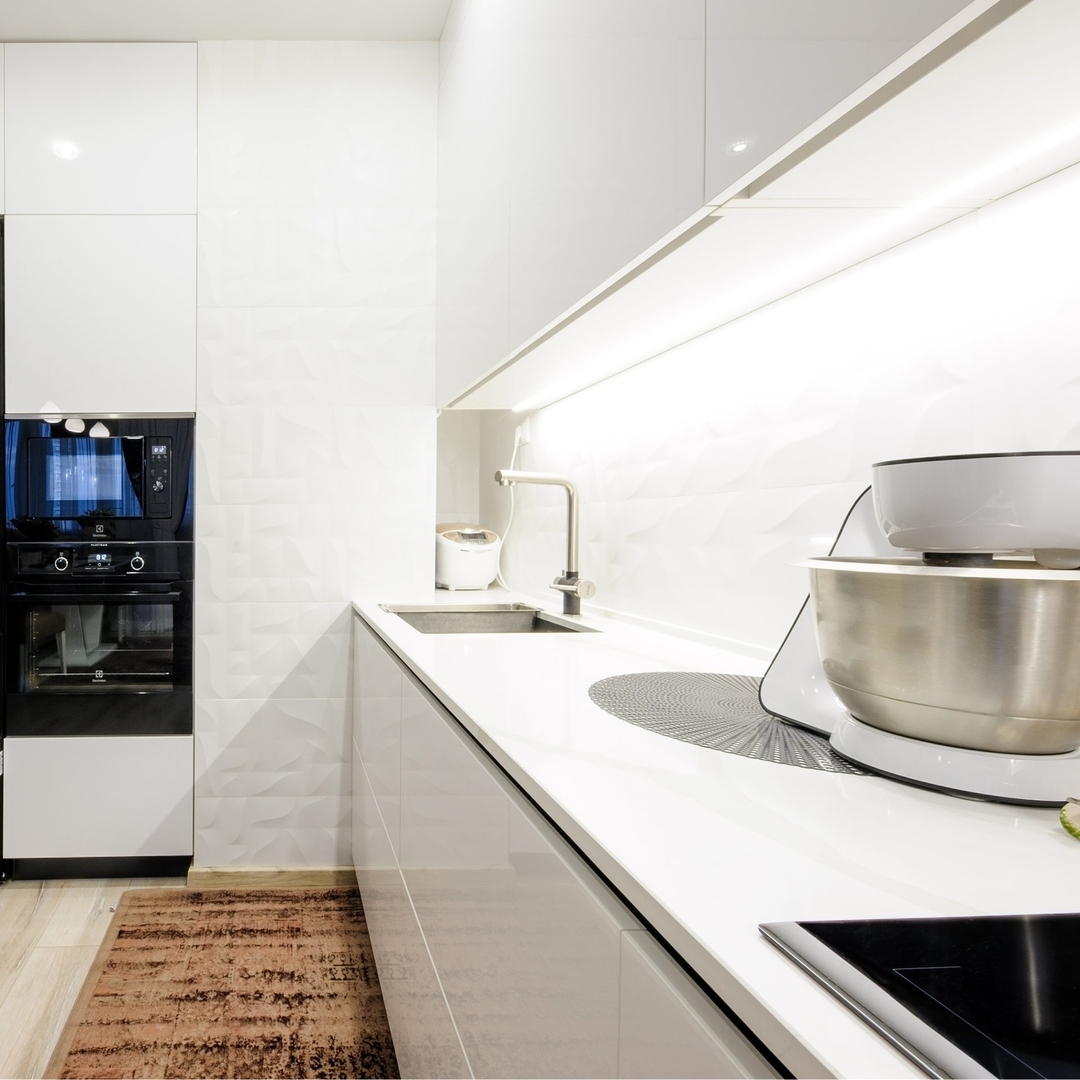 Белый кухонный гарнитур-Кухня МДФ в эмали «Модель 606»-фото2